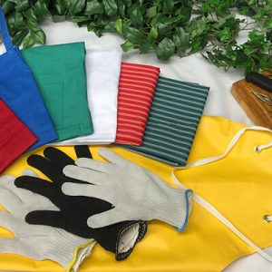 aprons, clothing and gloves